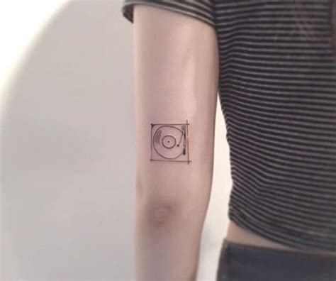 minimalist tattoo flash tiny tattoo idea record player minimal tattoo cute