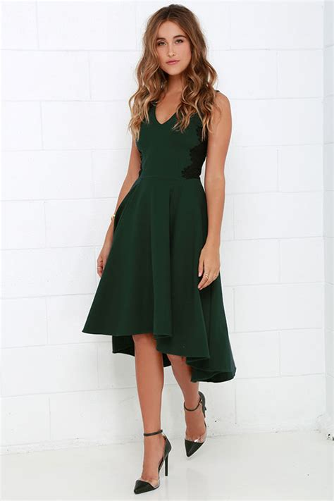 Lovely Dark Green Dress   Lace Dress   Midi Dress   High