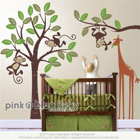 Monkey Nursery Wall Decor Wall Decals Monkeys And Giraffe Nursery By Pinknbluebaby