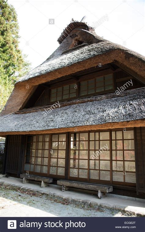 traditional japanese house traditional japanese house with thatched roof at oishi