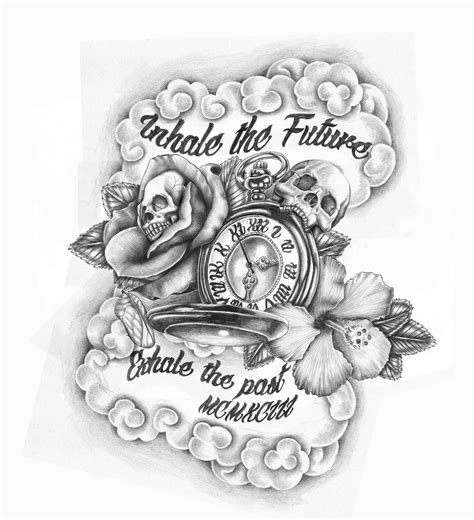 time tattoos designs on compass time tattoos and skull