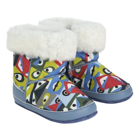 Copy With This I Shoes Bags Boys T Shirt by Fendi Baby Boys Blue Winter Boots With Multicoloured Bag