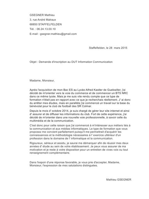 Exemple De Lettre De Motivation Dut Informatique lettre de motivation dut information communication pdf