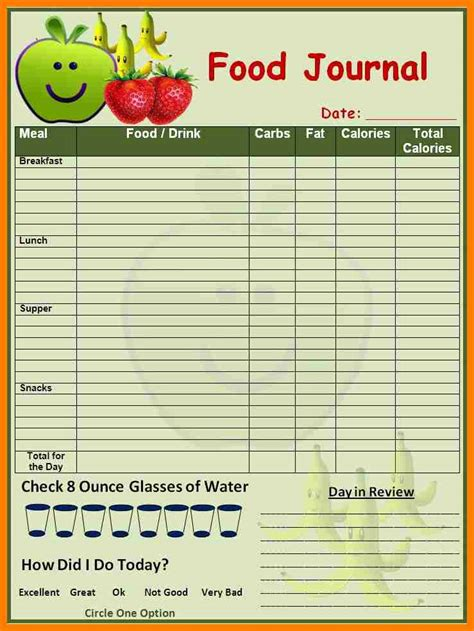 Sle Food Diary Template food log template 100 images 7 food log templates to