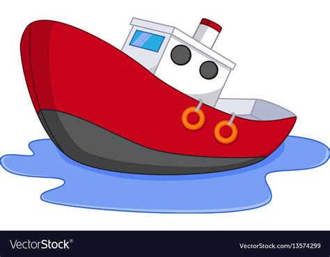 cartoon red boat cartoon boat with water royalty free vector image
