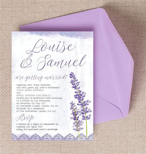 Wedding Invitations Lavender by Lilac Lavender Wedding Invitation From 163 1 00 Each