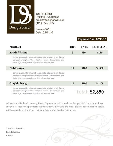 invoice template graphic design creating a well designed invoice step by step design shack
