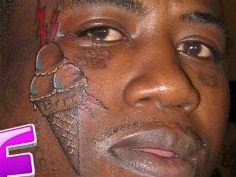 gucci mane tattoos a ice cream cone on his face