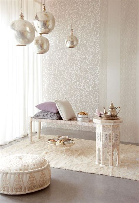 white  silver moroccan style wallpaper  lamps