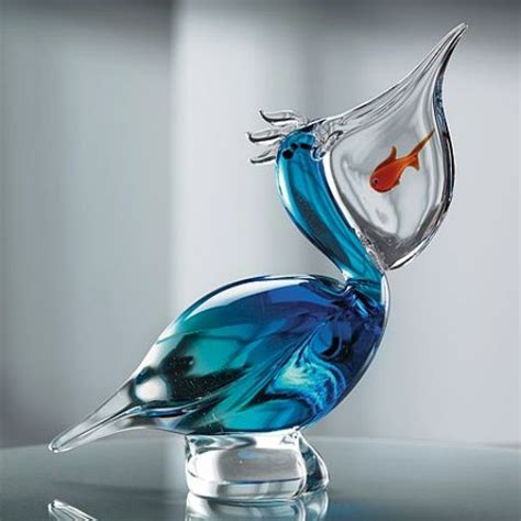 art design on glass pelican with fish in mouth murano store gorgeous glass