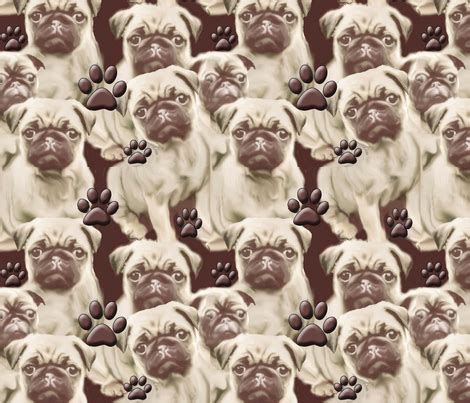 pug print material pugs and paws mural dogdaze spoonflower