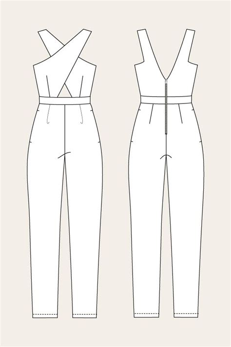 simple jumpsuit pattern line drawing for the ailakki cross front jumpsuit by named