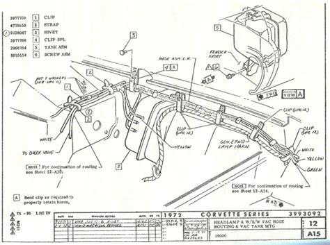 1974 corvette headlight vacuum diagram 1972 corvette headlight and vacuum line component schematic