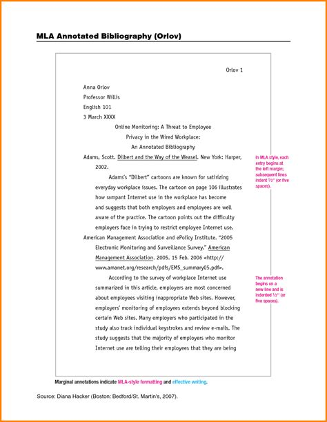 mla citation template exle of an annotated bibliography mla format