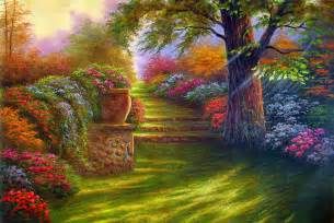 Simple flower garden painting painting garden road flowers free