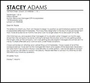 sexual harassment letter template letter of resignation due to harassment sle resume