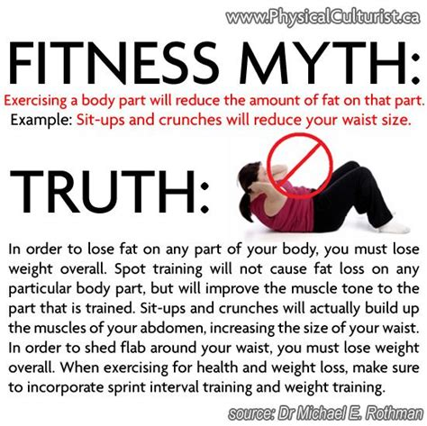 fitness myth exercising a part will reduce the amount of on that part for exle sit