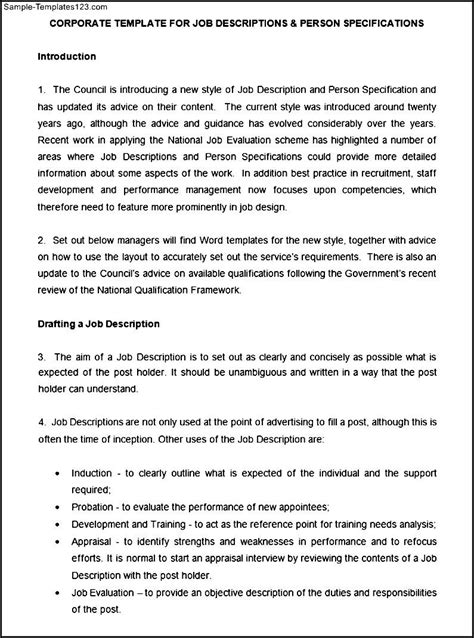 job description and person specification template sle
