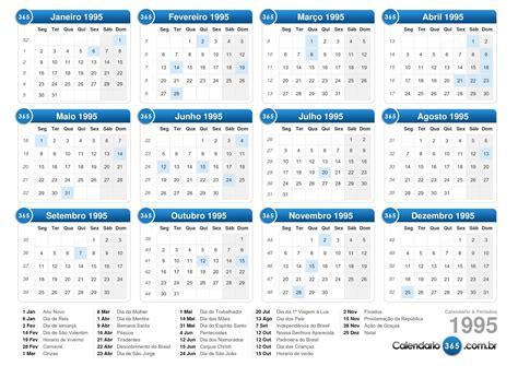 Calendario De 1995 Calend 225 1995