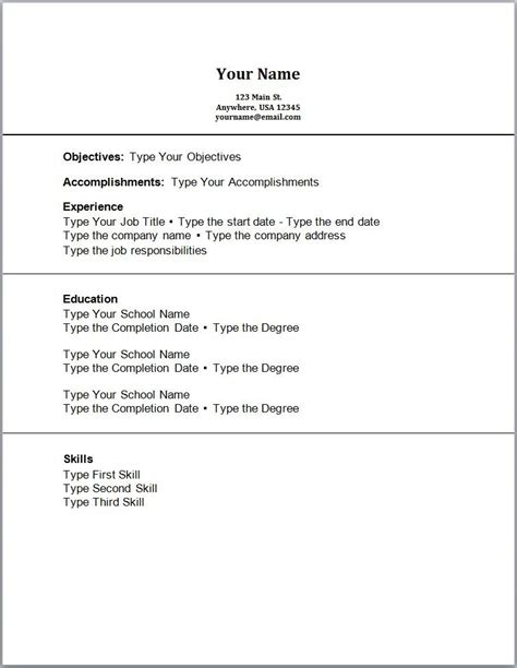 resume template for no work experience acting resume