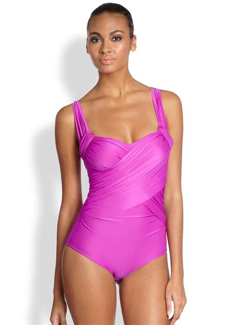 draped swimsuit badgley mischka one piece draped swimsuit in purple lyst
