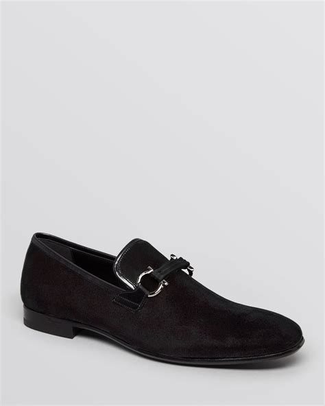 formal loafers for ferragamo velvet formal loafers in black for lyst