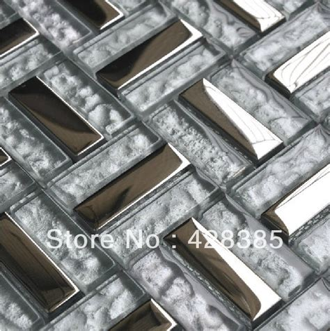 free shipping stainless steel glass tiles metal mosaic