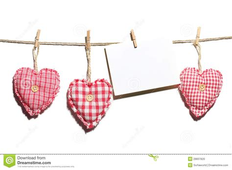 Handcrafted Hearts - handmade hearts with blank card hanging on clothes