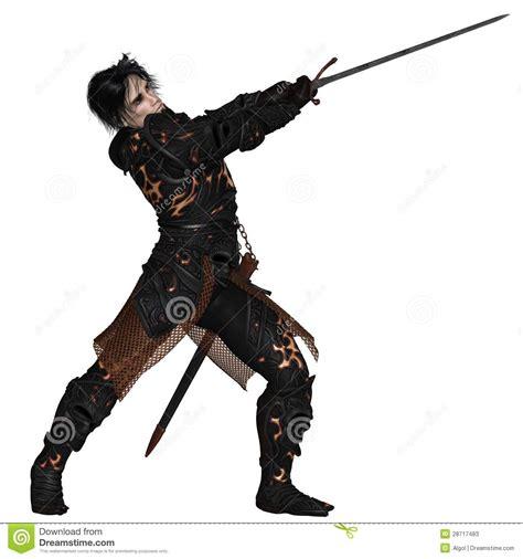 imagenes guerreros oscuros guerrero oscuro que balancea una espada fotos de archivo