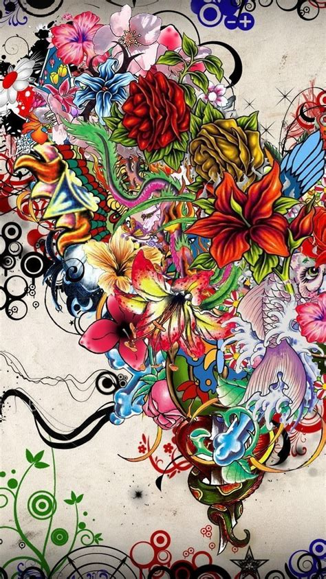 abstract flowers tattoo illustration iphone  wallpaper hd