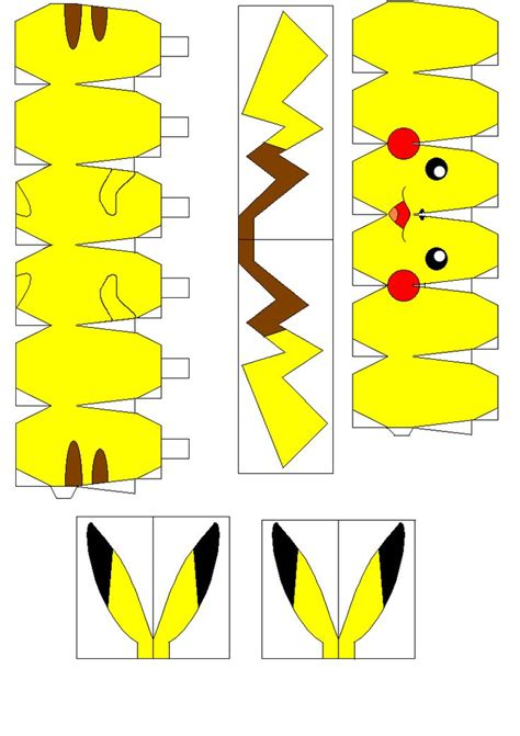 Pikachu Papercraft Template - pikachu papercraft patterns pikachu and ps