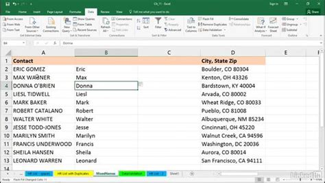 flash tutorial with exle split column data using text to columns and flash fill