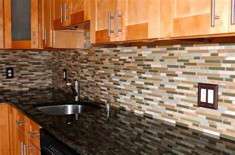 mosaic glass tiles backsplash