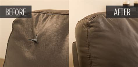 fix rip in leather couch furniture repair before and after pictures guardsman