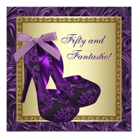 purple birthday card template high heel shoes womans purple 50th birthday card