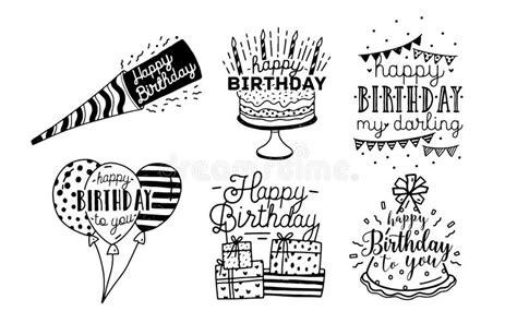 imagenes blanco y negro feliz cumpleaños colecci 243 n linda del dise 241 o de las inscripciones de los