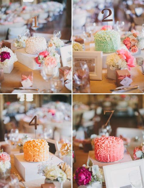 Mini Cakes With Table Numbers For The Centerpieces So Fun Mini Cakes For Centerpieces