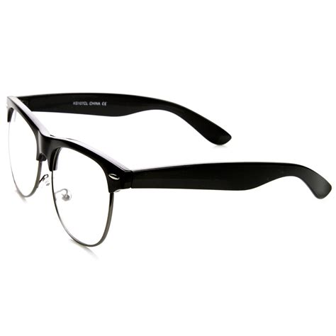 retro classic half frame clear lens clubmaster glasses