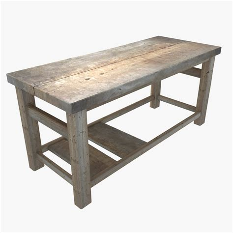 wooden workshop benches 3d wooden workbench table model