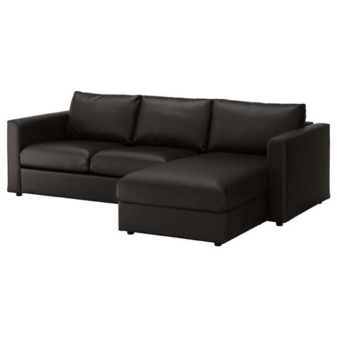 Vimle 3 Seat Sofa With Chaise Longue Farsta Black Ikea