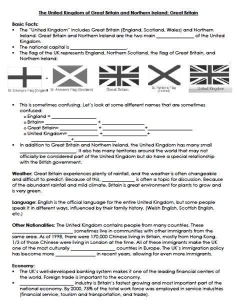 great sheets culture of english speaking countries fact sheet united