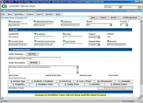 service desk user tasks