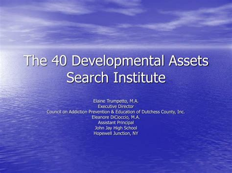 The Search Institute 40 Developmental Assets Ppt The 40 Developmental Assets Search Institute Powerpoint Presentation Id 6546061
