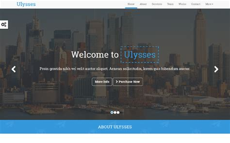 Ulysses One Page Parallax Template Business Corporate Wrapbootstrap Parallax Page Template