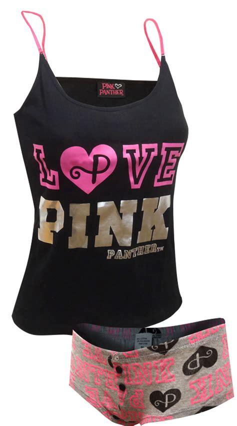 Pajamas Mickey Black Pp webundies pink panther black and gray shortie pajama