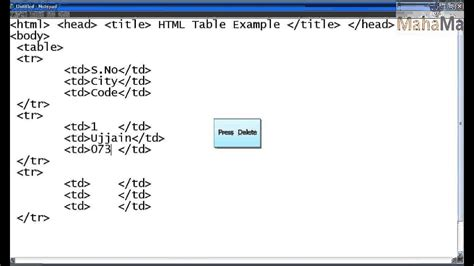 html for a table html tutorial html table exle