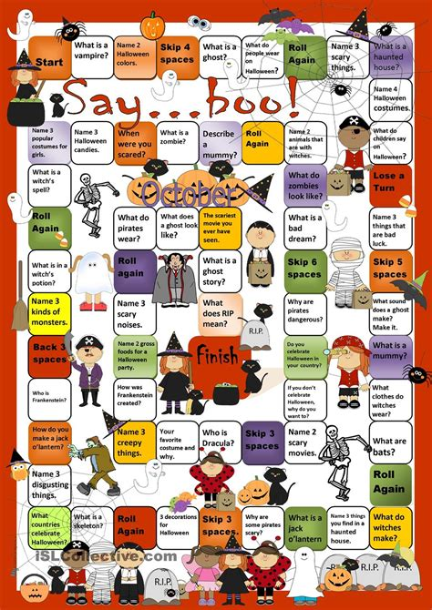 printable board games for esl halloween board game worksheet free esl printable