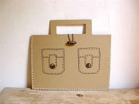 How To Make A Paper Suitcase - diy laced cardboard handbags handmade