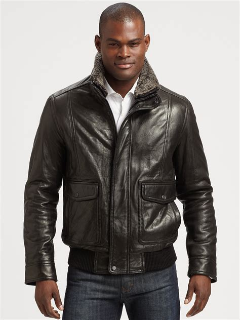 Marc Black andrew marc leather aviator bomber jacket in black for lyst