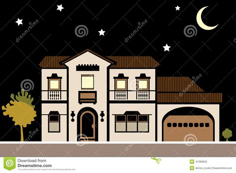 Modern Victorian House Plans house mansion night stock vector image 41366622